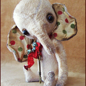 by Alla Bears original artist Old Friend Elephant Ellie art toy doll Vintage Antique baby handmade stuffed home decor animal pet bed pillow