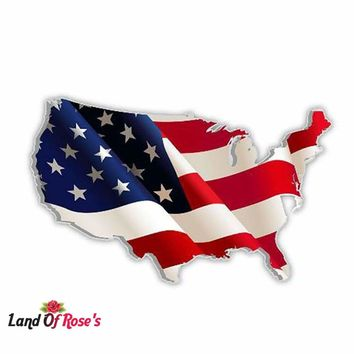 LandOfRose's 13cm X 8.2cm American Map Flag Decal /Car /Truck/ Boat Decal /Laptop Graphics Sticker