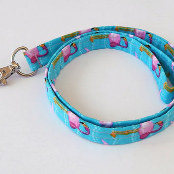 Pink Flamingo Lanyard / Flamingo Keychain / Cute Lanyards / Teacher Lanyard / Key Lanyard /  / ID Badge Holder / Fabric Lanyard / Aqua