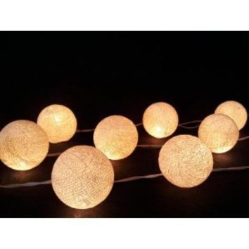 I Love Handicraft Ivory Cotton Ball String Lights Patio Wedding and Party Decoration (20 Balls/set)