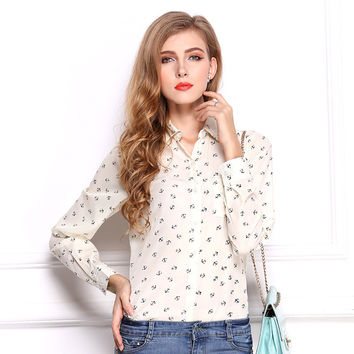 Women Loose Printed Chiffon Long Sleeves Anchor Basic Wear Shirt