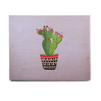 "Mukta Lata Barua ""Cactus Love 2"" Green Blue Nature Modern Digital Illustration Birchwood Wall Art"