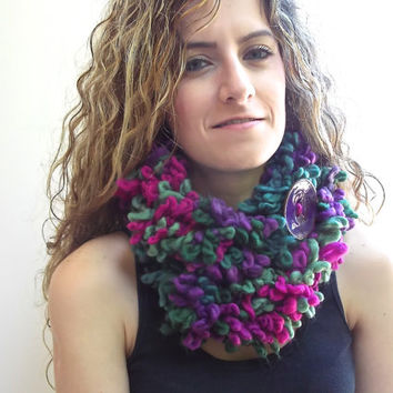 Warm Neck Warmer, Double Layer scarf, Purple, Magenta, Olive Green infinity Scarf with Large Button