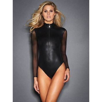 HU&GH 2017 Women Black Catsuit Mesh Long Sleeve Faux Leather Jumpsuit Hot Girl Zipper On The Front Bandage Bodycon Sexy Bodysuit