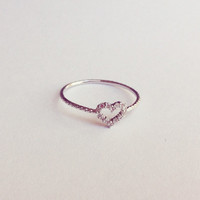 Crystal heart Silver ring, Simple and gorgeous, perfect gift