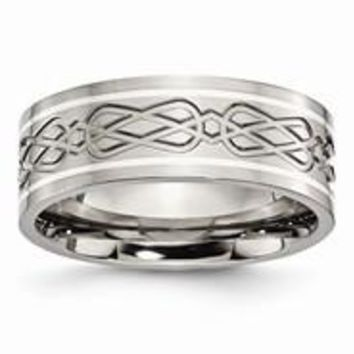 Titanium with Sterling Silver Inlay Celtic Knot Flat 8mm Polished Wedding Band Ring