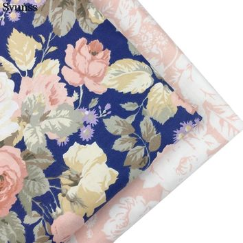 Syunss Peony Floral Printed Twill Cotton Fabric DIY Handmade Sewing Patchwork Baby Cloth Bedding Textile Quilting Tilda Tissus