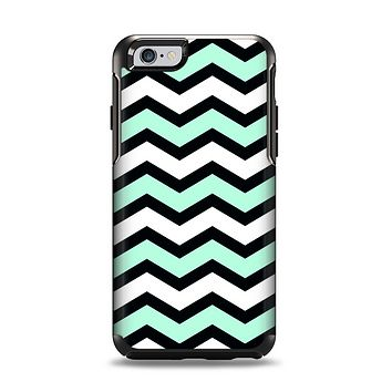 The Teal & Black Wide Chevron Pattern Apple iPhone 6 Otterbox Symmetry Case Skin Set