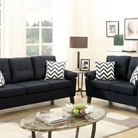 2 pc Collette III collection black faux linen fabric upholstered sofa and love seat set (CLONE)