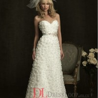 Lace Sweetheart A-Line Sleeveless Wedding Dress with Chapel Train AB8924