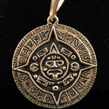 2012 Mayan calendar pendant cast in bronze from handcarved master.