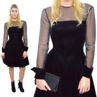 Vintage 80s Hollywood Nites Goth Cocktail Party Dress Sz 4