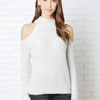 Brook Knitted Cold-Shoulder Top-FINAL SALE