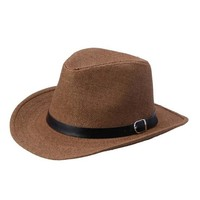 2016 Hot Sale Gentlemen Summer Hats Fashion Casual Adult Men Straw Hat Cowboy Caps for Travel High Quality#3546
