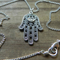 Hamsa necklace, hand of Fatima necklace,  hand necklace, Hamsa Jewelry, wire wrapped Hamsa necklace
