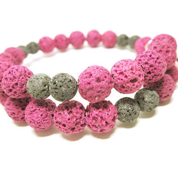 LAVA STONE Bead Wrap Bracelets Lava Stone Beads Pink And Natural Lava Stones Infuse With Your Favorite Essential Oil JEWELRY