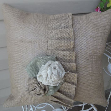 "Burlap Country French Single Ruffle Natural color Pillow  17"" x17"", decorative pillow, accent pillow, cottage style pillow"