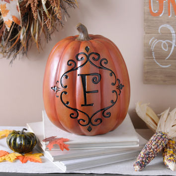 Orange & Black Monogram F Pumpkin