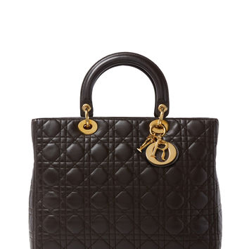 Christian Dior Women's Black Cannage Quilted Lambskin Lady Dior Large