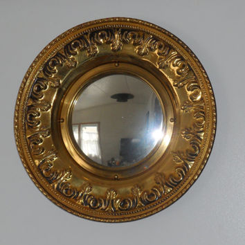 1940s LINTON METALWORKS MIRROR/Linton Made In England Old Metal Worked Convex Mirror/Wall Hung Mirror from 1940s/Old Coppery Convex Mirror