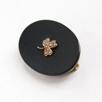 Antique 14k Yellow Gold Black Onyx & Seed Pearl Clover Pin - Victorian 1800s Mourning, In Memory Large Dark Oval Brooch Jewelry