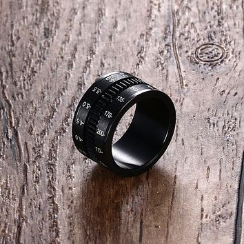 Unique Men's Rings Stainless Steel SLR Camera Lens Ring for Men Black Fashion Jewelry Spinner Band Photographers Accessories HOT
