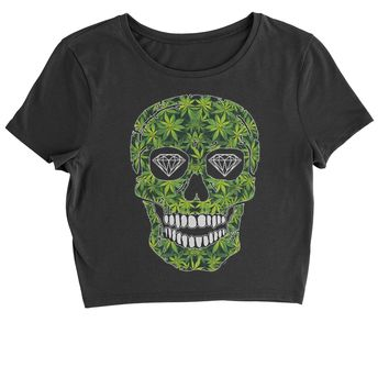 Weed Skull Cropped T-Shirt