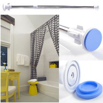 NEW Telescopic Shower Curtain Rail Extendable Heavy Duty Steel Pole Rod