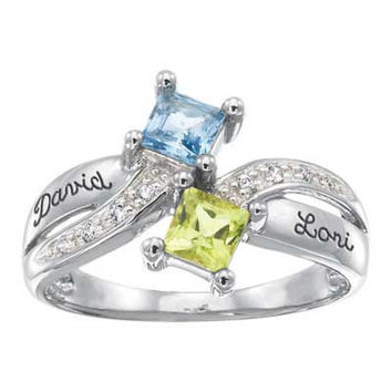 Sterling Silver Simulated Birthstone and Cubic Zirconia Couple's Duality Ring by ArtCarved® (2 Names and Stones)