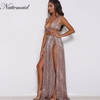 NATTAMAID Sexy Sleeveless sequined Long Dress Side Split Backless Shift Beach Wedding Maxi Dress Summer Party Bohemian vestidos
