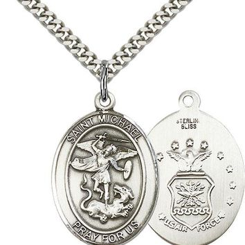 925 Sterling Silver St Michael Air Force Military Catholic Medal Necklace 617759768114