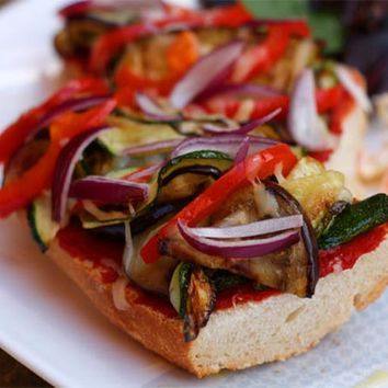 Recipes - Pizza Baguette with Courgette and Aubergine