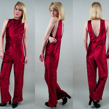 Vintage 80s Red Crushed Velvet Jumpsuit bell bottom flare open back Grunge velour Wide Leg catsuit romper XS S