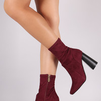 Suede Chunky Heeled Ankle Boots