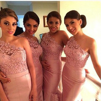 One Shoulder Prom Dresses,Pink Prom Dresses,Long Evening Dress