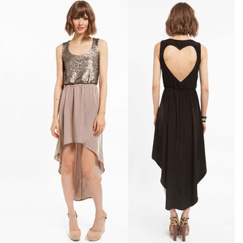 New Back Heart-shaped Stitching Sequins Chiffon Dress