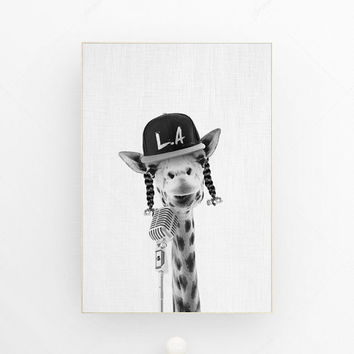 Giraffe print giraffe wall art safari animal print african animal art snoop dog rap hip hop la los angeles california love giraffe poster