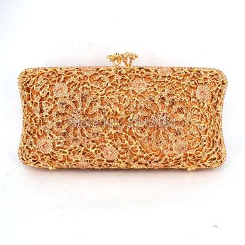 Newest Champagne diamonds and gold hardware Clutch Bag Flower Evening Bag Diamond Studded Handbags Women Bridal Party Purse 616