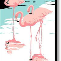 Pink Flamingos Tropical 1980s Abstract Pop Art Nouveau Graphic Art Retro Stylized Florida Print Canvas Print / Canvas Art By Walt Curlee