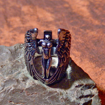Titanium Naked Angel Biker Ring for Men
