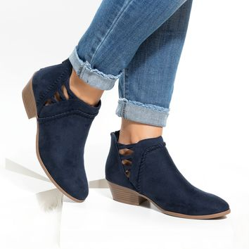Sincere Faux Suede Ankle Booties