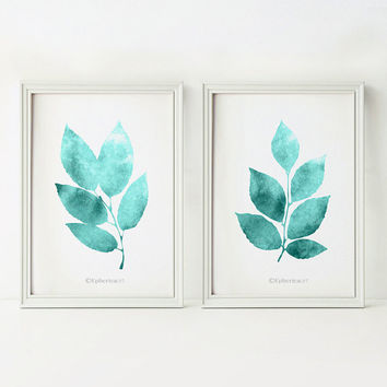 Wall art Set of 2 prints, Teal home decor wall art, Printable wall decor, Bathroom art, Nature decor, Teal prints, Leaves decor 5x7 prints
