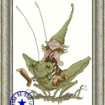 Top Quality Beautiful Lovely Counted Cross Stitch Kit Grasshopper Fairy Angel In