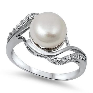 Pearl and CZ Sterling Silver Ring