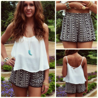 Napali Black & White Tribal PomPom Shorts