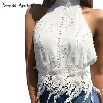 Simplee Apparel Halter high neck cotton lace top Strapless applique fringe tank top Backless bustier corp top Summer beach camis