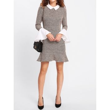 Contrast Collar And Ruffle Cuff Tweed Dress