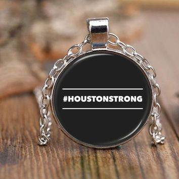 "#HOUSTONSTRONG HASHTAG HOUSTON STRONG * 18"" Adjustable Rolo Style Chain Necklace"