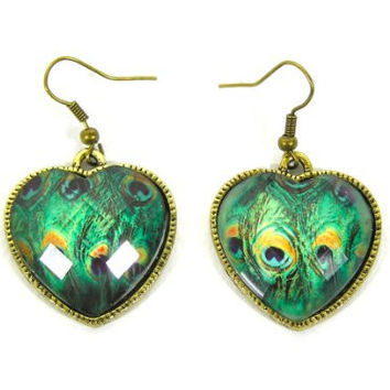 Peacock Feather Heart Crystal Earrings EE06 Dangling Art Deco Posts Statement Fashion Jewelry