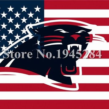 NFL Carolina Panthers Hollow Out Shape with US Stars Stripes Flag Banner New 3x5ft 150x90cm Polyester, free shipping
